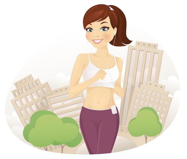 Mujer corriendo en el parque de la ciudad