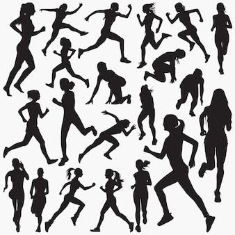 Mujer corriendo siluetas