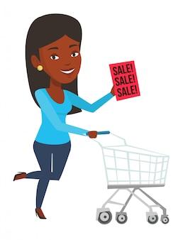 Mujer corriendo a toda prisa a la tienda en venta.