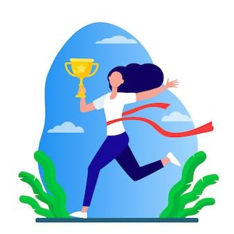 Mujer corriente ganando carreras. líder de maratón sosteniendo la taza, cruzando la línea con la ilustración de vector plano de cinta roja. concurso, premio, trofeo