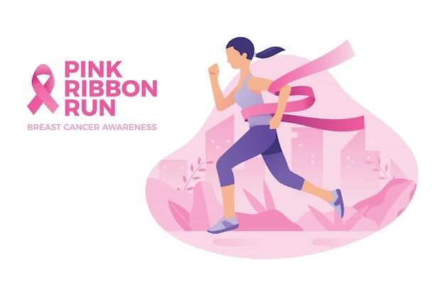 Mujer corrió para la concientización sobre el cáncer de mama, cinta rosa correr
