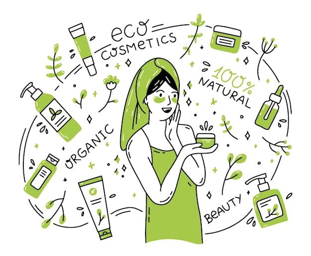 Una mujer y cosméticos orgánicos naturales en estilo doodle.