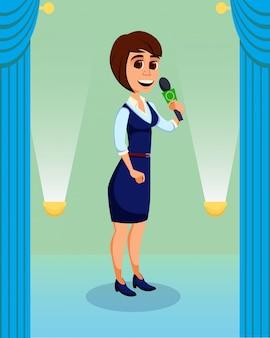 Mujer creativa dando charla en el escenario a la audiencia