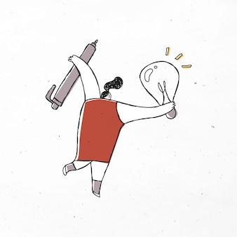 Mujer creativa con dibujos animados de lápiz y bombilla