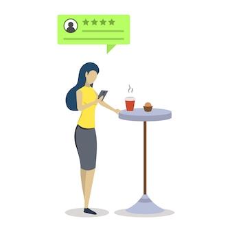 Mujer con crítica positiva burbuja semi plana ilustración de color rgb. experiencia de usuario. consumidor, comentarios de los clientes. evaluación de calidad. calificación de cafetería. personaje de dibujos animados aislado en blanco