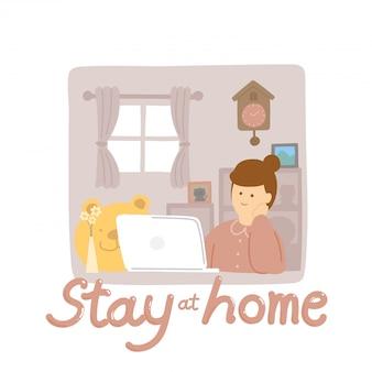 Mujer de cuarentena con laptop mantenga distancia al brote de protección covid-19, cartel de concepto de distancia social en el hogar o ilustración de banner social aislado en el fondo con espacio de copia,