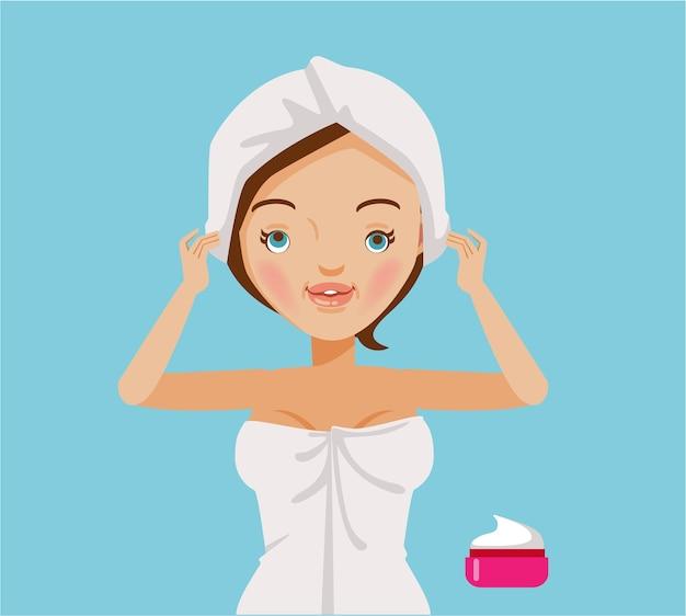 Mujer cubre el cabello y el cuidado del cabello. variedad de tratamientos capilares.