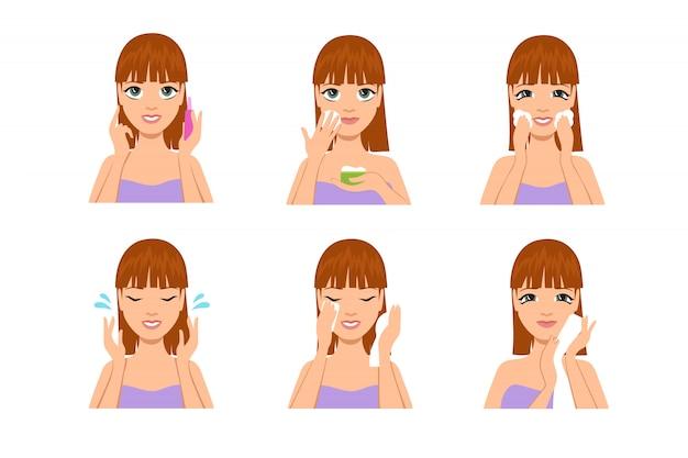 Mujer cuidado de la piel. dibujos animados hermosa chica limpiando y lavándose la cara con agua y jabón después del maquillaje. set de tratamiento corporal de belleza