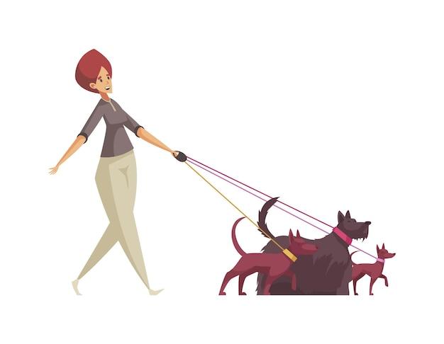 Mujer cuidadora de mascotas caminando tres perros con correa de dibujos animados
