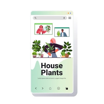 Mujer cuidando de plantas de interior ama de casa discutiendo con amigos de raza mixta en las ventanas del navegador web durante la videollamada en la pantalla del teléfono inteligente copia vertical