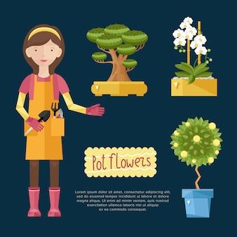 Mujer cuidando sus plantas