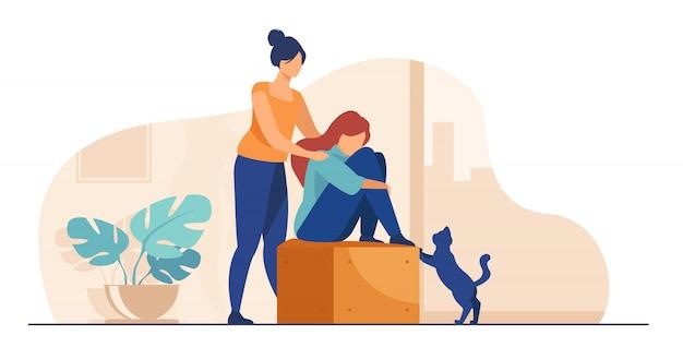 Mujer dando consuelo y apoyo a amigo