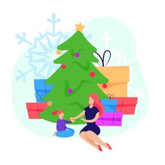 Mujer dando regalos de navidad a pequeña hija