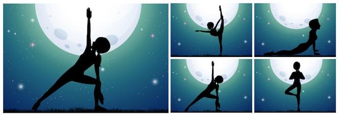 Mujer de silueta haciendo yoga en la noche de luna llena