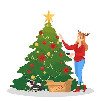 Mujer decorando el árbol de navidad para la celebración. decoración tradicional de vacaciones para fiesta. feliz linda chica en suéter rojo. ilustración
