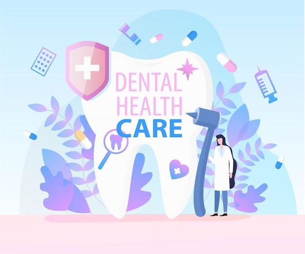 Mujer dentista equipo médico taladro jeringa espejo dental cuidado de la salud
