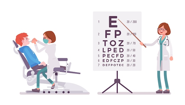 Mujer dentista y oftalmólogo