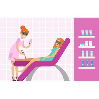 Mujer con depilación de piernas con equipo de depilación láser. ilustración de personaje de dibujos animados coloridos