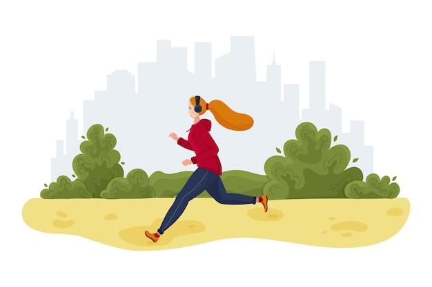 Mujer deportiva para correr en el parque de la ciudad