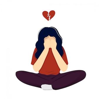 Mujer en depresión después de la ruptura
