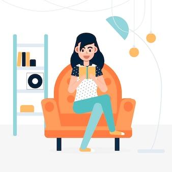 Una mujer descansando en casa con un libro