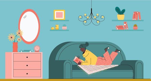 Mujer descansando en el sofá y leyendo el libro en la ilustración de vector de dibujo de sala de estar
