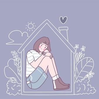Una mujer desconsolada sentada en la casa abrazándolo.