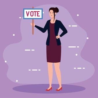 Mujer del día de las elecciones con diseño de cartel de voto, presidente del gobierno y tema de la campaña