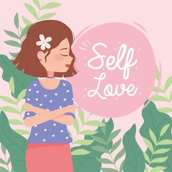 Mujer del día de la mujer con flor en el pelo, ilustración de amor propio