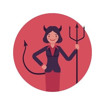 Mujer del diablo en un círculo rojo