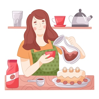 Mujer dibujada haciendo café en su cocina