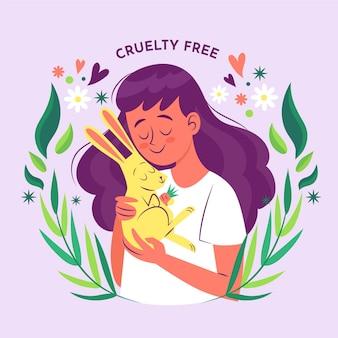Mujer dibujada a mano abrazando a un conejito