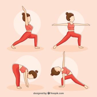 Mujer dibujada a mano en cuatro posturas de yoga