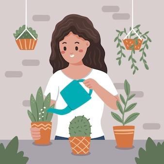 Mujer dibujada a mano cuidando plantas
