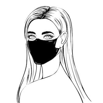 Mujer dibujada a mano en máscara médica negra