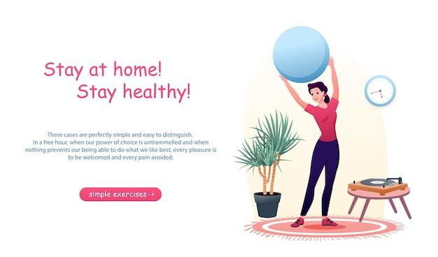 Mujer de dibujos animados activa hace ejercicios deportivos con pelota en casa. concepto de coronavirus