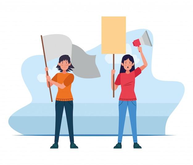 Mujer de dibujos animados con una bandera y una mujer con un cartel en blanco y megáfono