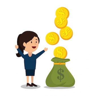 Mujer dibujos animados dinero ganancias diseño aislado