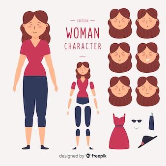 Mujer dibujos animados para diseño en movimiento