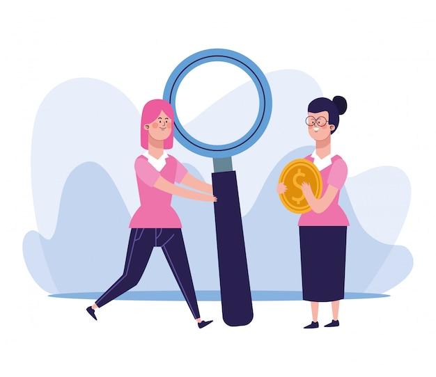 Mujer de dibujos animados con gran lupa y mujer sosteniendo una moneda de dinero