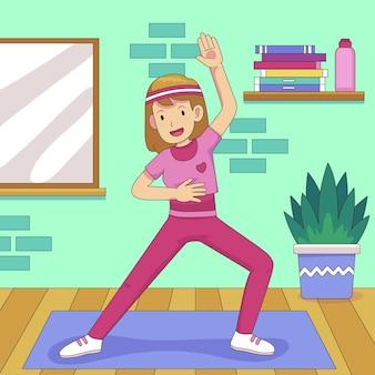 Mujer de dibujos animados haciendo ejercicios en casa