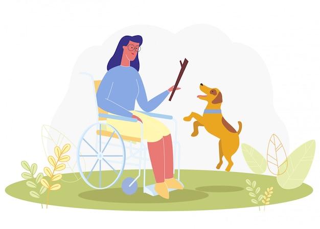 Mujer de dibujos animados en juego en silla de ruedas con perro de servicio