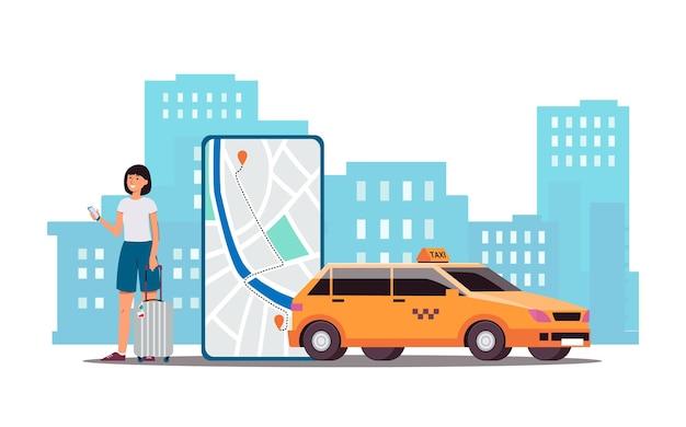 Mujer de dibujos animados llamando al servicio de taxi a través de la aplicación de teléfono: pantalla de teléfono inteligente con ruta de automóvil en el mapa y taxi amarillo en el fondo de la ciudad