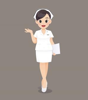 Mujer de dibujos animados médico o enfermera en uniforme blanco, sonriente personal de enfermería