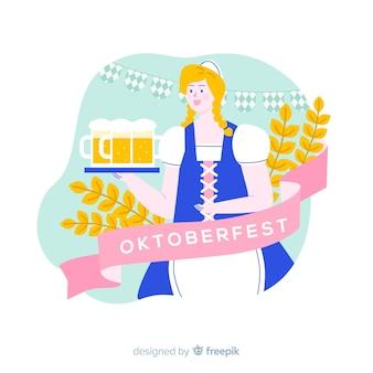 Mujer de dibujos animados de oktoberfest plana con jarras de cerveza