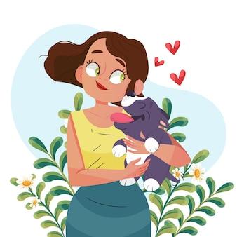 Mujer de dibujos animados con perro
