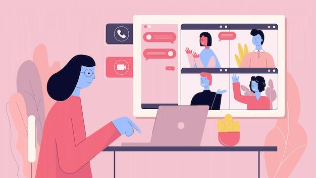 Mujer de dibujos animados que se conecta con amigos en la ilustración de video conferencia