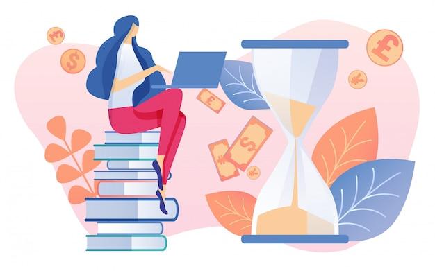 Mujer de dibujos animados sentada en una pila de libros con el cuaderno