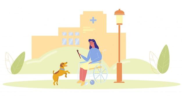 Mujer de dibujos animados en silla de ruedas jugar con perro de servicio