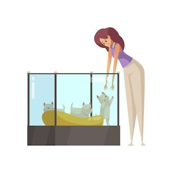 Mujer de dibujos animados tomando cachorro en sus manos en la tienda de mascotas de dibujos animados